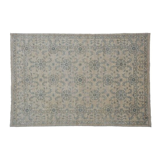 Buy 100 wool area rug 6x9 tone on tone transitional for Living room rugs 6x9
