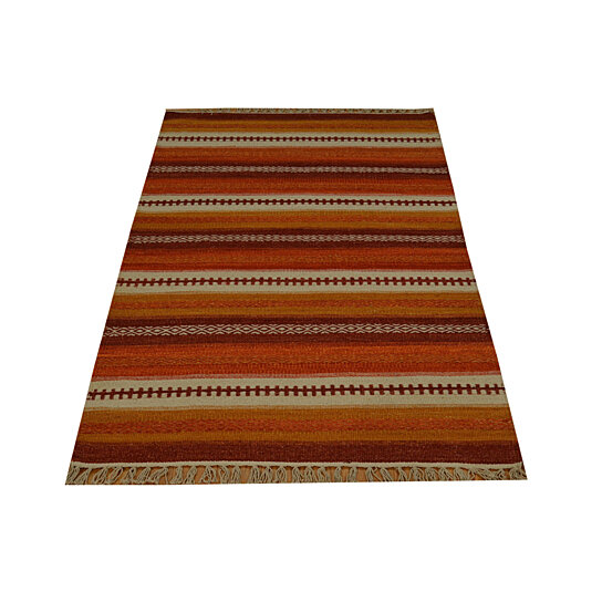 Buy hand woven 100 wool striped durie kilim flat weave 3 x5