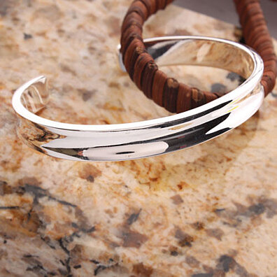 1 Pcs Women Girls Charming 625 Sterling Silver Jewelry Wide Open Bangle Bracelet