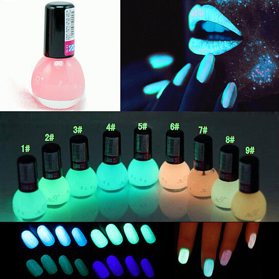 Buy 7 Colors Glow in The Dark Fluorescent Neon Luminous Nail Polish ...