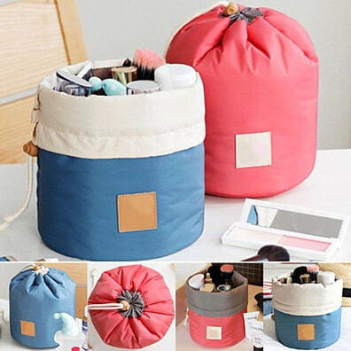 Cosmetic Makeup Bag Round Travel Organizer Drawstring Multifunction Closure Blue/Pink