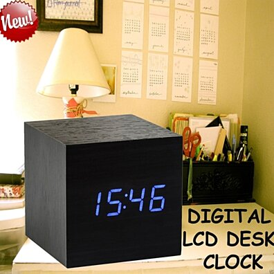 Modern Wooden Wood Cube USB/AAA Style Voice Digital Alarm Clock LED Display