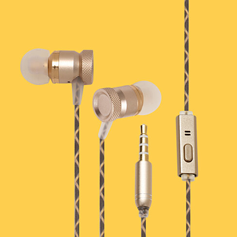 1 Voice Audio Boom Earphones in Gold