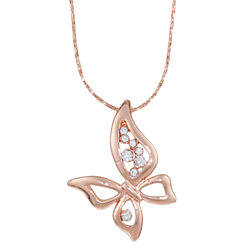 Rose Gold Butterfly Necklace with Simulated Diamond Trim