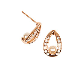 Rose Gold Halo Pearl Earrings with Simulated Diamond Trim