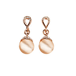 Rose Gold Opal Drop Earrings with Simulated Diamond Trim