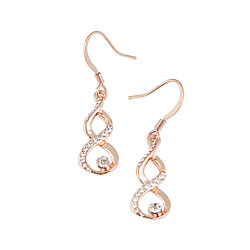 Rose Gold Spiral Earrings with Simulated Diamond Stud and Trim