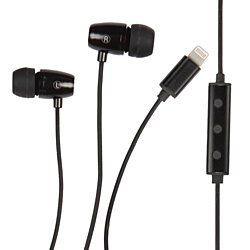 1 Voice High Definition Earphones with Lightning Cable Connector in Black