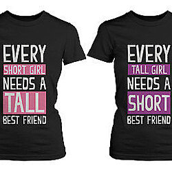 Cute Best Friend Shirts - Short and Tall Matching Black Cotton BFF T-Shirts