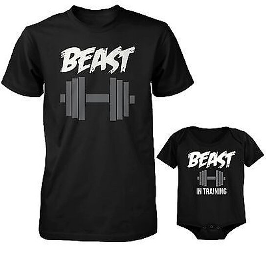 a58ae8460 Trending product! This item has been added to cart 84 times in the last 24  hours. Daddy Beast and Baby Beast in Training Matching T-Shirt and Bodysuit  Set
