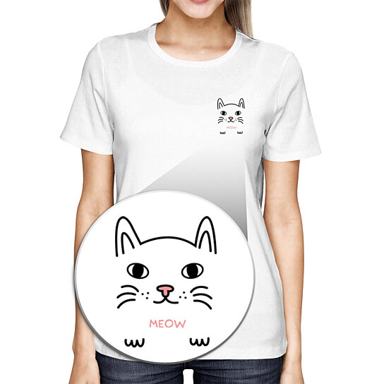 Buy Meow Kitty Pocket T Shirt Back To School Tee Ladies