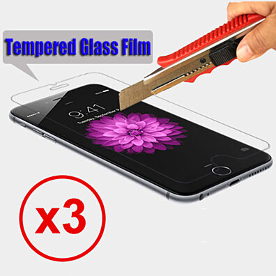 3 Pack Bulletproof Tempered Glass Screen Protector for iPhone & Samsung