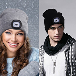 Beanie Hat With Built-In Rechargeable LED Head Lights, 2 Pack. Gray/Black