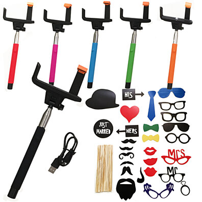 Bluetooth Selfie Monopod Stick with Photo Booth Props