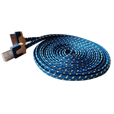 "iPhone 4/4s iPad cable USB Charger Sync Cord ""10 Feet"" (Blue Flat Noodle Fabric Braid)"