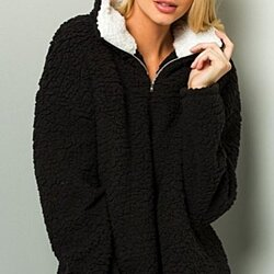 Long Sleeve Furry Pullover Jacket-3 COLORS