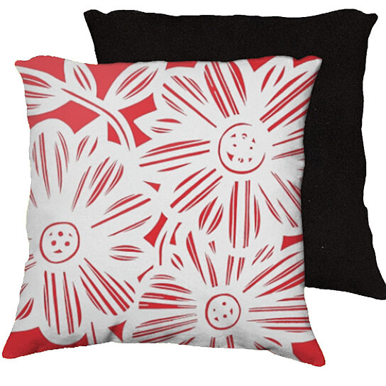 Red Black White Decorative Pillows : Buy Frates 18x18 Red White Black Pillow Flowers Floral Botanical Cover Cushion Case Throw Pillow ...