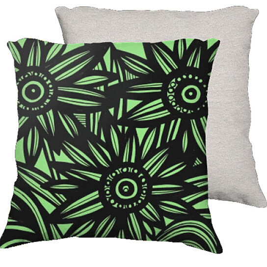 Buy Halaliky 18X18 Green Black Flowers Floral Botanical White Back Cushion Case Throw Pillow ...