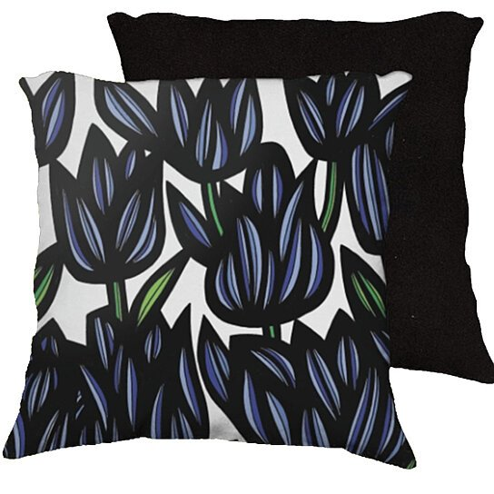 Black White And Green Throw Pillows : Buy Krumenauer 18x18 Blue Black White Green Pillow Flowers Floral Botanical Cover Cushion Case ...
