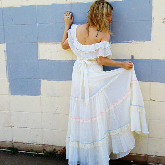 Buy gunne sax off the shoulder 1970s bohemian wedding for Wedding dress with blue detail