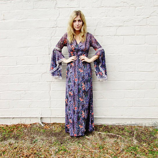 0051893ba8a Buy Lavender lilac FLORAL angel sleeve maxi dress. bell sleeve flutter  sleeve gown. summer spring 1970s dress. gypsy bohemian hippie dress by  aavintedge on ...