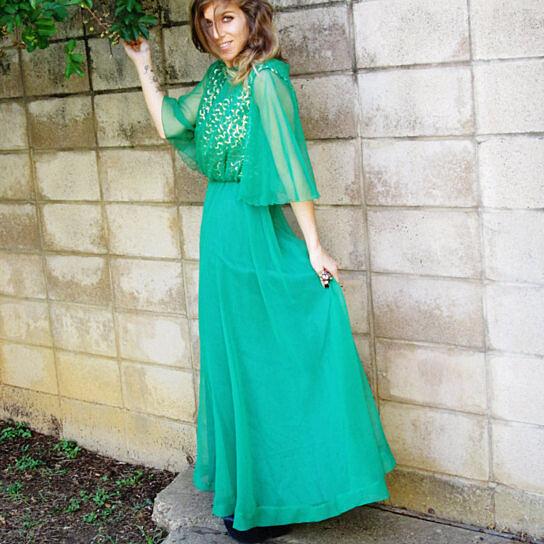 Buy sale EMERALD green Princess gown. METALLIC GOLD sequin bodice ...