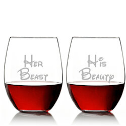 Her Beast and His Beauty Stemless 15 oz Wine Glass Set