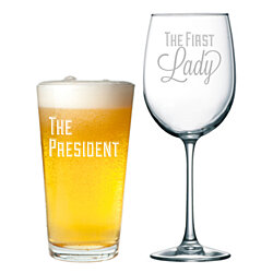 The President Pint Glass and The First Lady Wine Glass Set