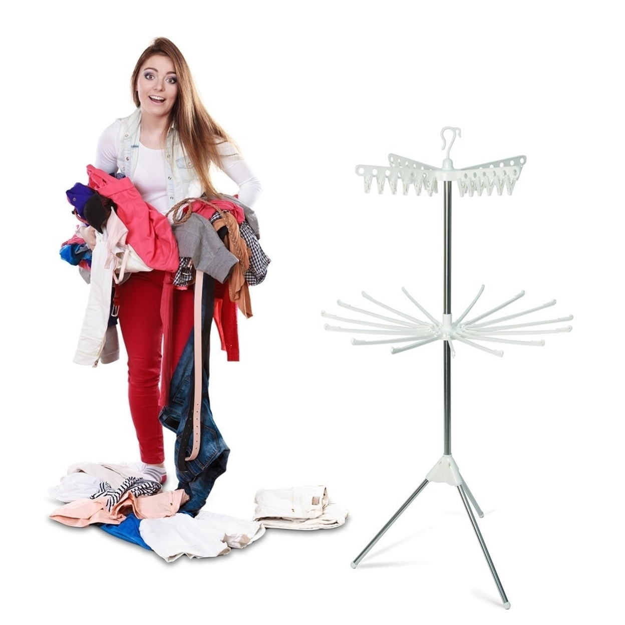 Abco 2 Tier Clothes Drying Rack - Allows for Full Length Drying - Easy to Assemble & Store Clothes Hanging Rack 5898d5b0927b0c311f1a0342