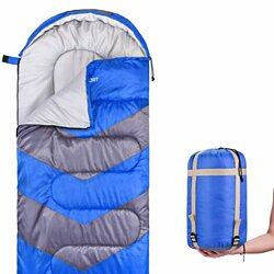 Sleeping Bag - Envelope Lightweight Portable, Waterproof, Comfort With Compression Sack