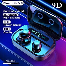 TWS Bluetooth 5.0 Earphone Wireless Headphones Power Display Sport Stereo Cordless Earbuds Headset with Charging Box