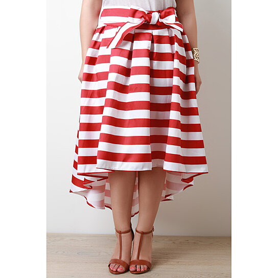 buy high low horizontal stripe pleated skirt by a better