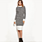 Black  and  White Houndstooth Contrast Curved Hem Combo Dress Ladies Knee Length Long Sleeve Elegant Dress With Zip Work Wear Dress