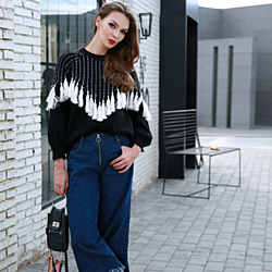 Retro 2017 Fall Sweater For Women Autumn And Winter Fashion O Neck Long Sleeve Tassel Black And White Sweater