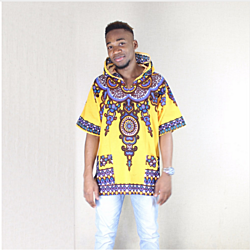 Yellow Mens Hipster Hip Hop African Dashiki Fabric Elongated longline Hoodie t shirt Hoody