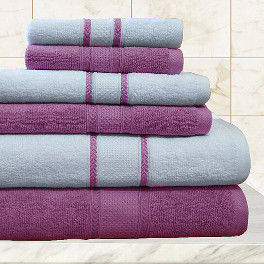 buy 6 piece 100 egyptian cotton towel set with two bath towels two hand towels and two. Black Bedroom Furniture Sets. Home Design Ideas
