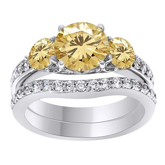 0e02fb152 Trending product! This item has been added to cart 7 times in the last 24  hours. 0.5 Ct Golden Moissanite Bridal Set Engagement Ring In 10K White ...