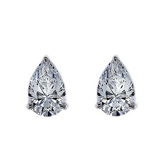 4bfe02b74 Buy 0.5 Ct Pear Cut 9K White Gold Diamond Stud Earrings April Birthstone by  JewelryHub on OpenSky