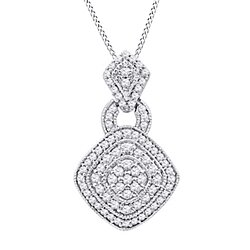 "1/2 Ct Round Cut White Natural Genuine Diamond 10K Solid Gold Cluster Pendant w/18"" Chain"
