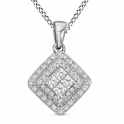 "1/2 Ct Round Cut White Natural Genuine Diamond 10K Solid Gold Square Pendant w/18"" Chain"