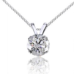 1/2 Ct Round Cut White Natural Genuine Diamond 14K Solid Gold Solitaire Pendant