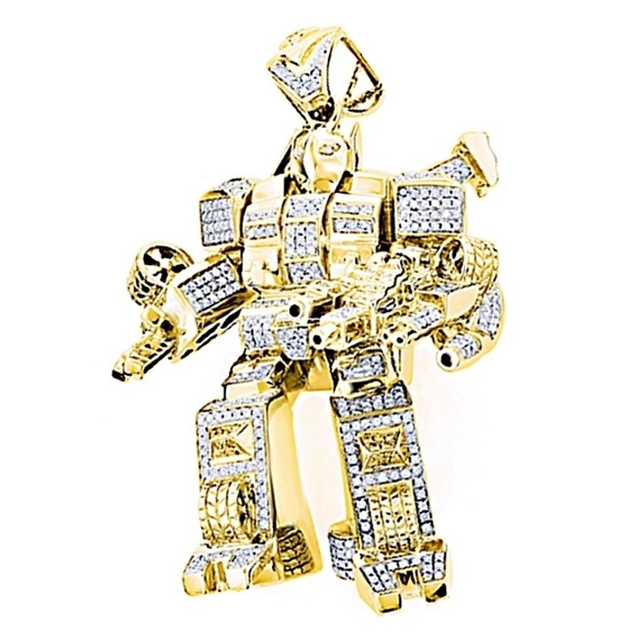 1.25 Ct Round Cut D/vvs1 14K Gold Over Men's Transformer Pendant 59afdb092a00e445bd009319