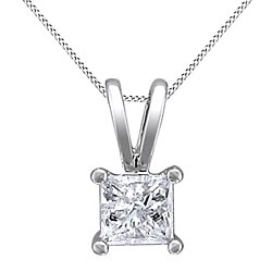 "1/4 Ct Princess Cut White Natural Genuine Diamond 14K Solid Gold Solitaire Pendant w/18"" Chain"