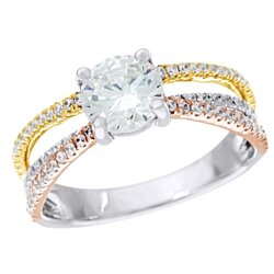 1.45 Ct Round Prong-Set D/VVS1 Tri Color Sterling Silver Multi Band Ring # With Free Stud Earring