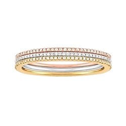 1/5 Ct. Tw. Diamond Anniversary Band In 14K Tri-Color Gold # With Free Stud Earrings