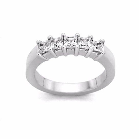 Buy 1 Ct Square Princess Cut D Vvs1 Diamond Five Stone Band Ring In