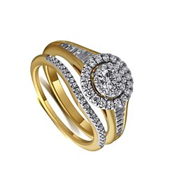 2.25 Ct D/VVS1 Diamond Bridal Set Ring In Solid 10K Yellow Gold # Free Stud Earring