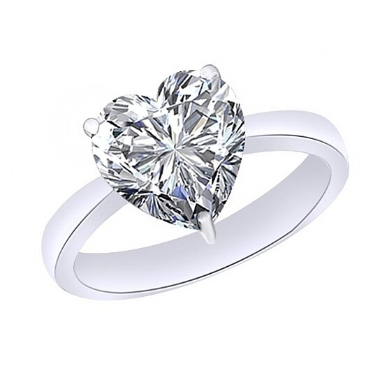 680aaa411 Buy 4.75 Ct Heart Cut April Birthstone Diamond 10K White Gold Solitaire  Ring # With Free Stud Earrings by JewelryHub on OpenSky