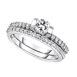 D/VVS1 Bridal Set Ring 1.32 Ct Round Cut Diamond Solid 10K White Gold # Free Stud Earring
