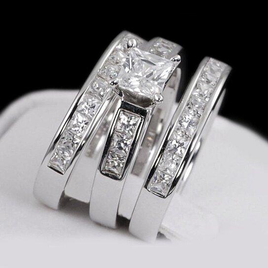 Buy Ladies Womens 3 Piece Engagement Wedding Bridal Ring